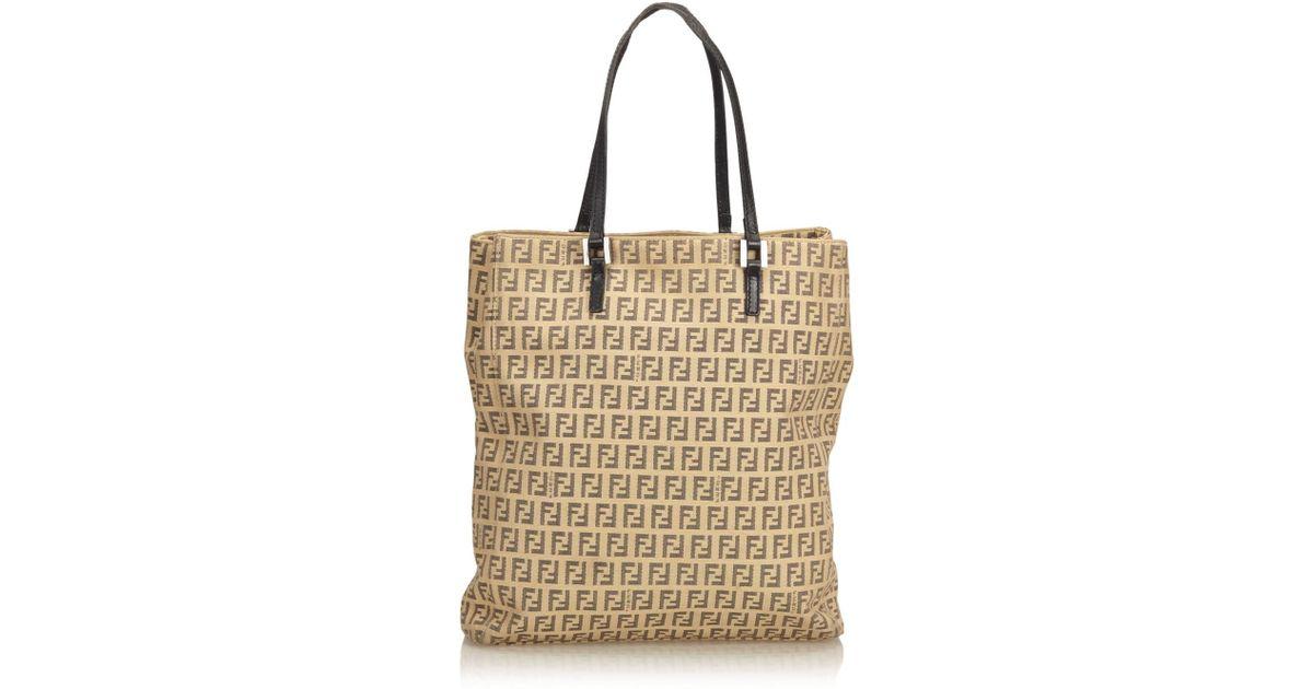 5753c0fb29e8c Fendi Zucchino Jacquard Tote Bag in Natural - Lyst