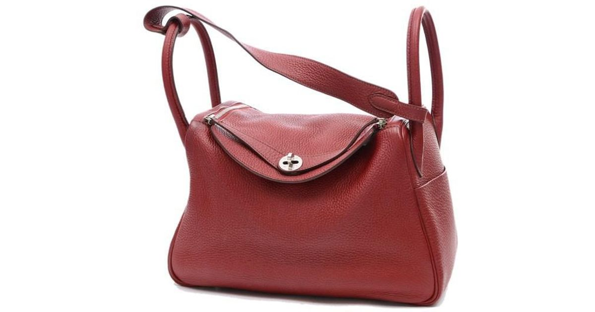 france authenticating hermes handbags 13b8c c0eae  free shipping lyst hermès  lindy 30 taurillon clemence rouge garance silverhardware n engraved mark in  red 8451396581f6d