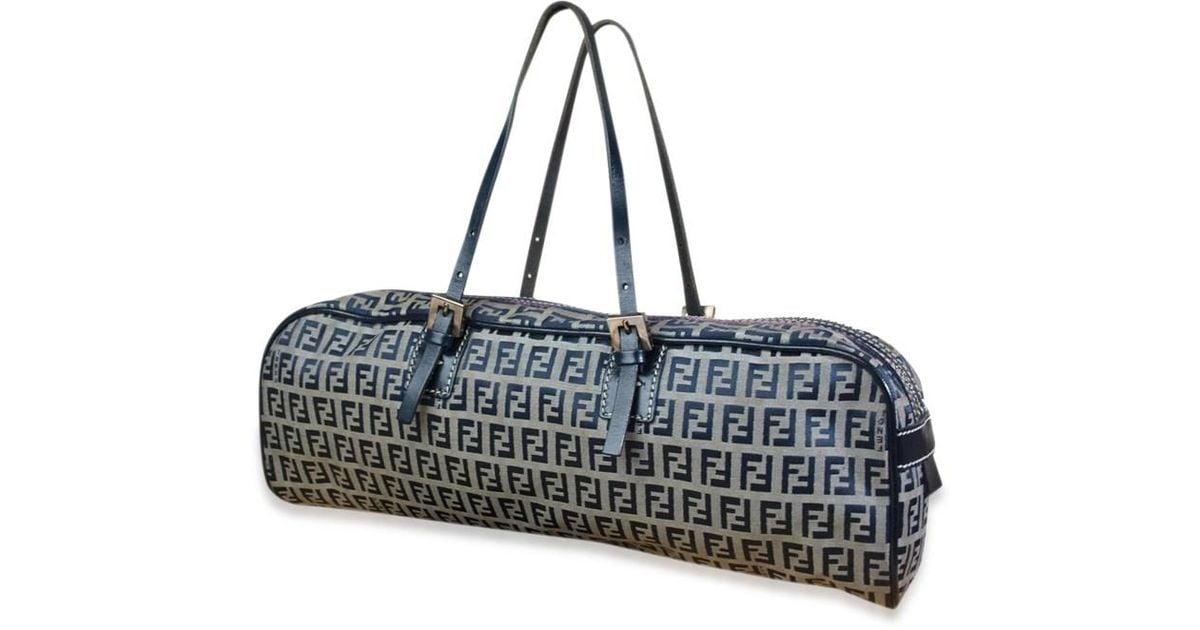 32f9cc8246e Lyst - Fendi Zucca Canvas Leather Navy Blue Hand Bag in Blue