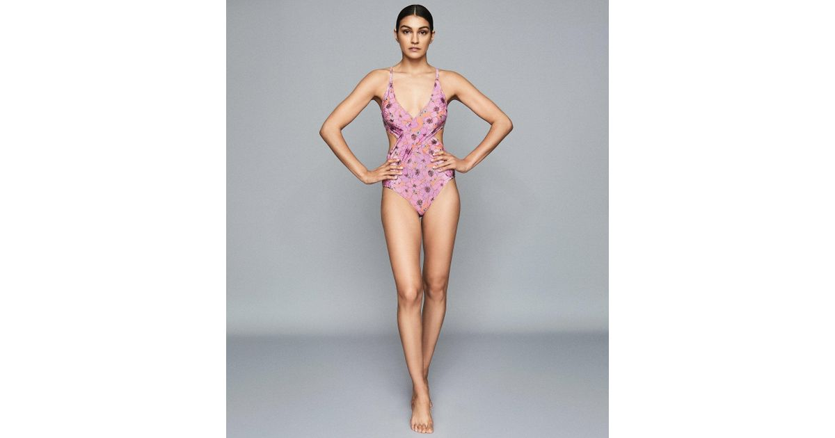 9a2de9d090 Reiss Mahina - Floral Printed Cut Out Swim Suit in Pink - Lyst