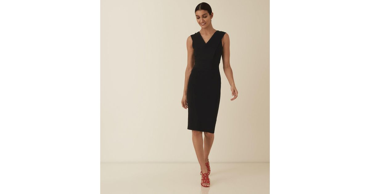06408531a38ed1 Lyst - Reiss Salvia - Knitted Bodycon Dress in Black