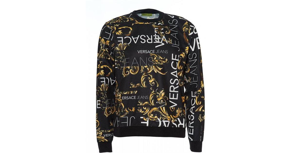 17b5a5ca Versace Jeans - All Over Baroque Black Gold Sweatshirt for Men - Lyst