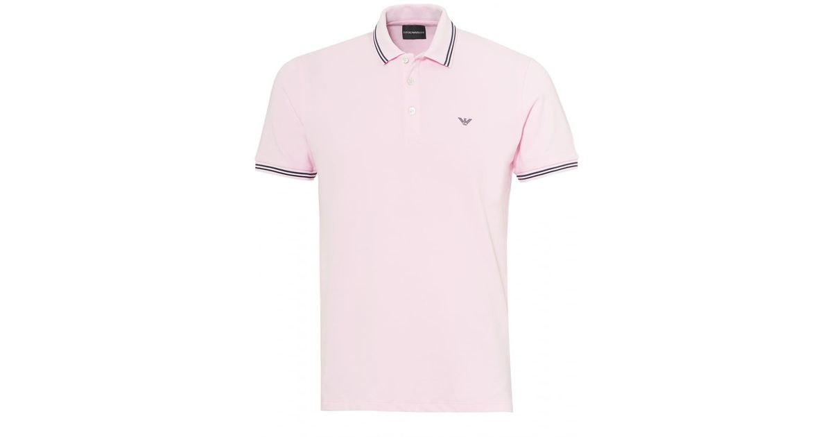 62c0e78186766a Emporio Armani Tipped Collar & Cuff Polo Shirt, Modern Fit Rosa Pink Polo  in Pink for Men - Lyst