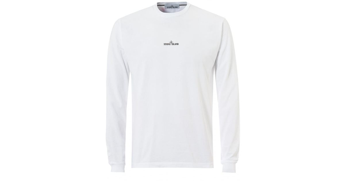 e23fb18c9d23 Stone Island Reflective Pin T-shirt, Long Sleeve White Tee in White for Men  - Lyst
