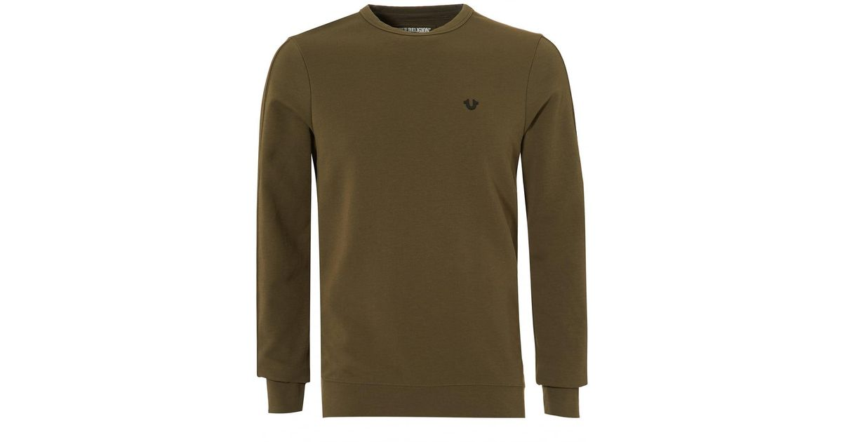 Lyst True Religion Metal Horseshoe Jumper Crew Neck Dusty Olive Sweat In Green For Men