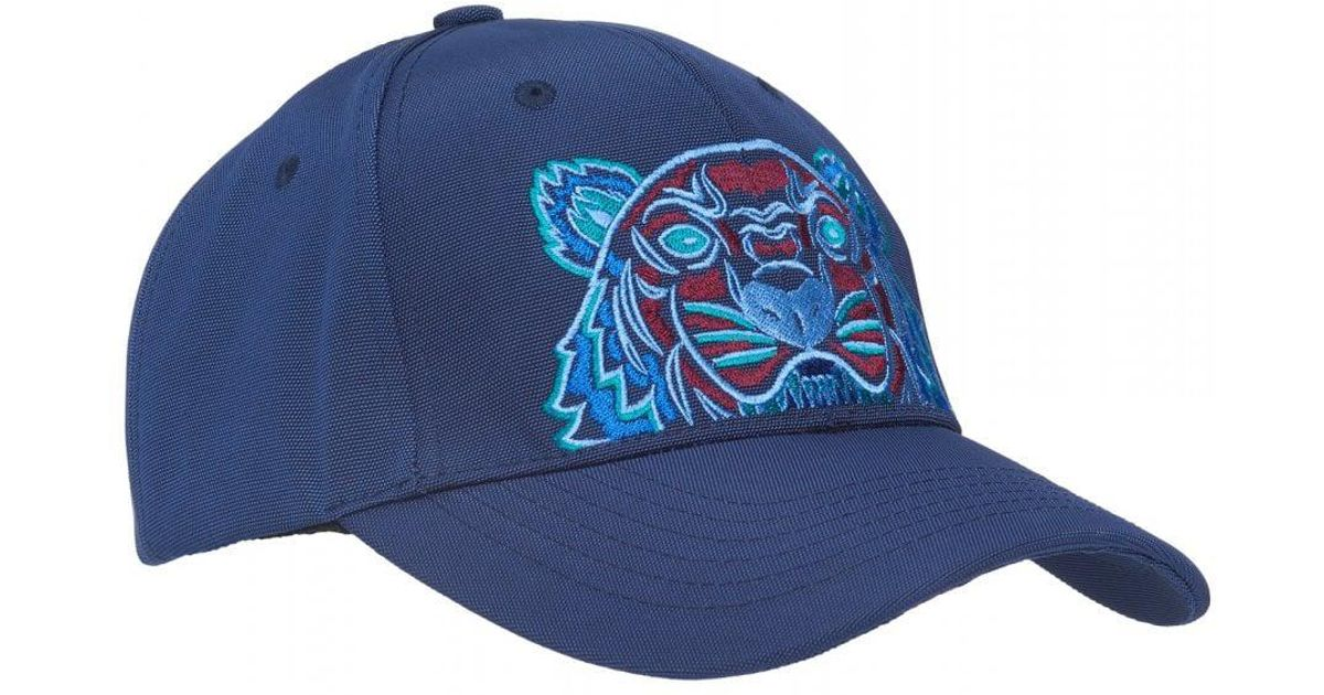 6c8e4525d875b8 KENZO Tiger Baseball Cap, Blue Canvas Hat in Blue for Men - Lyst
