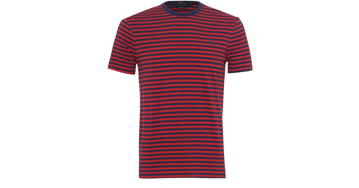 7c1434ad4f Ralph Lauren Striped T-shirt, Crew Neck Navy Blue Red Tee in Red for Men -  Lyst