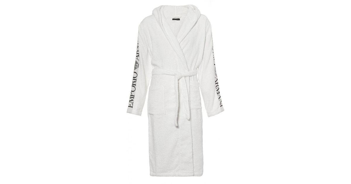 Lyst - Emporio Armani Hooded Robe, Branding White Dressing Gown in ...
