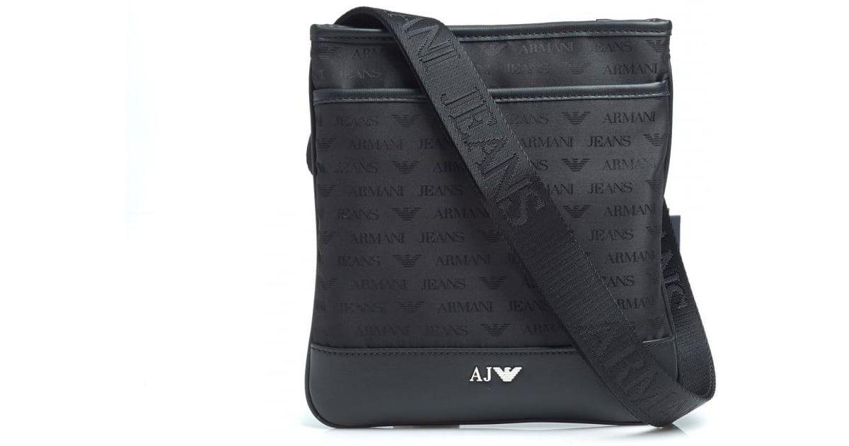 30d61c17459c Lyst - Armani Jeans Black Small All Over Logo Stash Shoulder Bag in Black  for Men