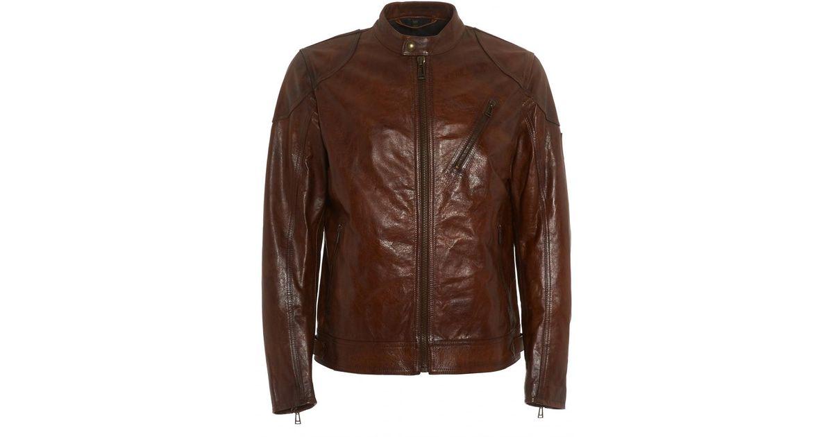 8f8247808 Lyst - Belstaff Maxford 2.0 Jacket, Brown Leather Blouson Jacket in ...