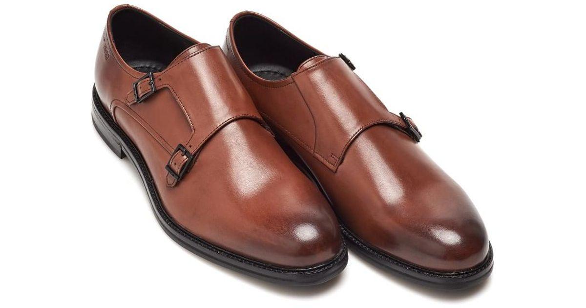 Lyst Boss Neoclass Monk Shoes Tan Brown Monk Strap Shoe In Brown
