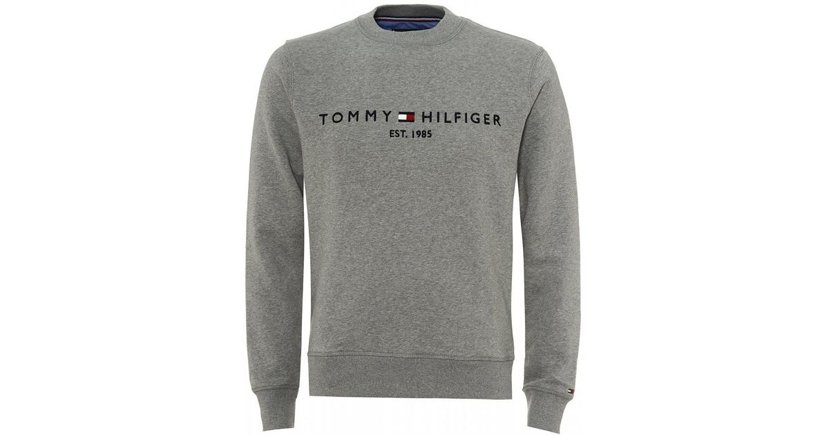 1c5e9b39 Tommy Hilfiger Est. 1985 Logo Sweatshirt, Cloud Htr Grey Sweat in Gray for  Men - Lyst