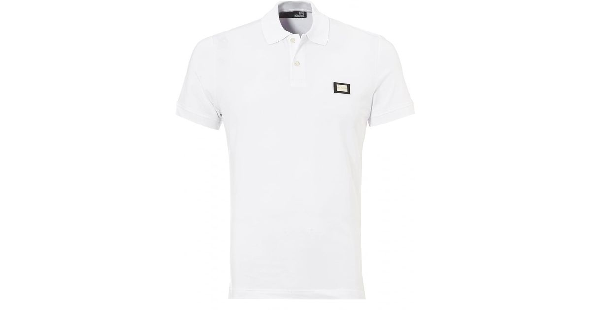 926771232ada Love Moschino Plain Badge Polo Shirt, White Slim Fit Polo in White for Men  - Lyst