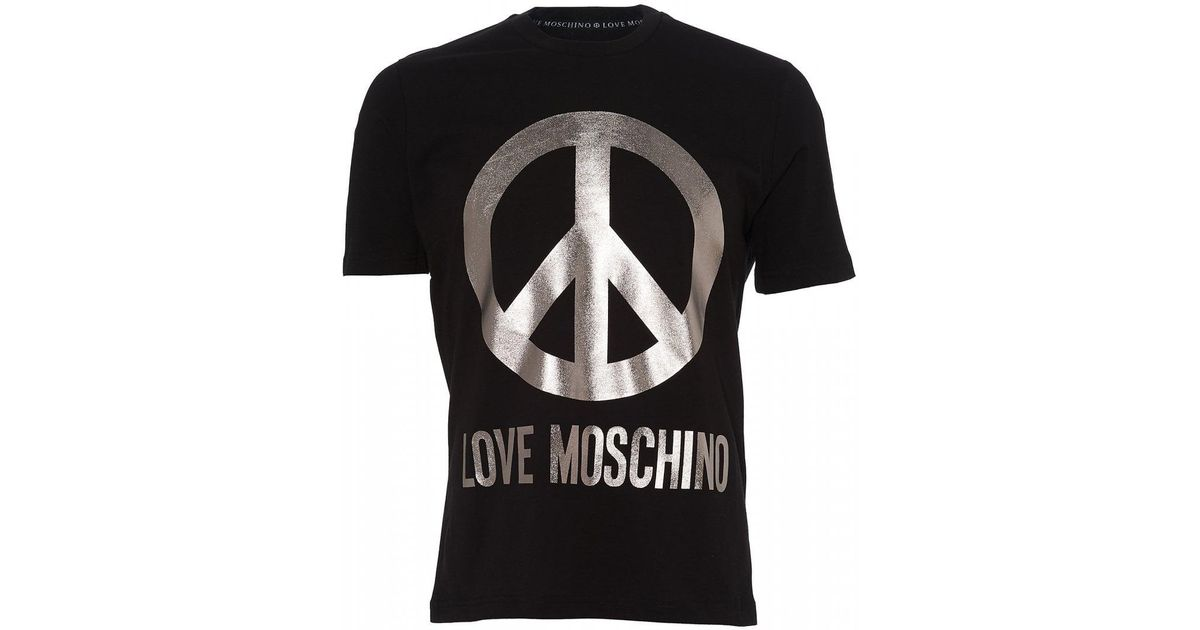 c24c43ccdb7 Lyst - Love Moschino Foil Peace Sign T-shirt