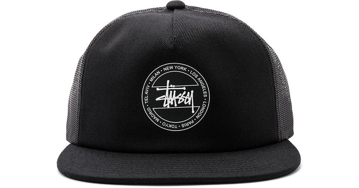 df8ddff3599 Lyst - Stussy Dot Trucker Hat In Black. in Black for Men
