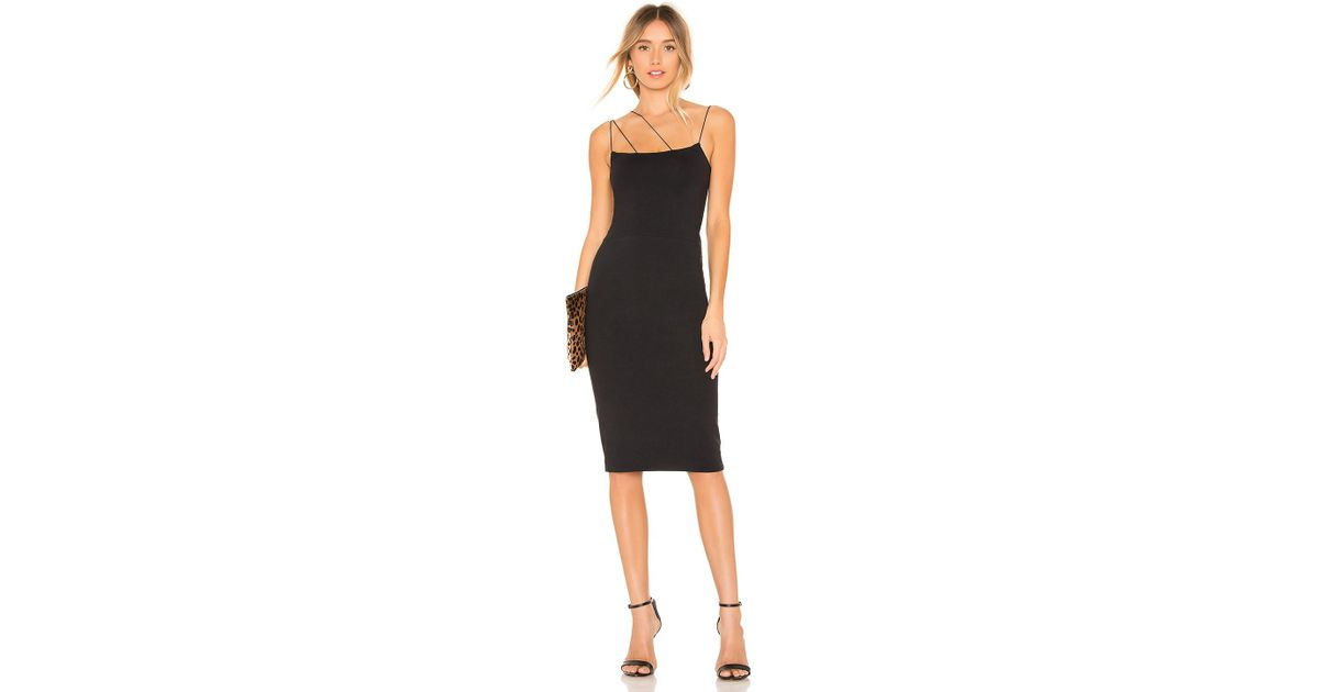 e221f3d8f David Lerner Asymmetrical Strap Midi Dress in Black - Lyst