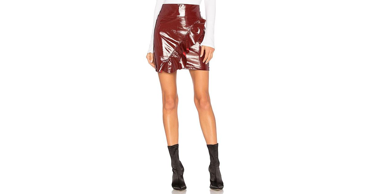 40d873864cc7 Lyst - David Lerner Asymmetrical Vinyl Skirt in Red