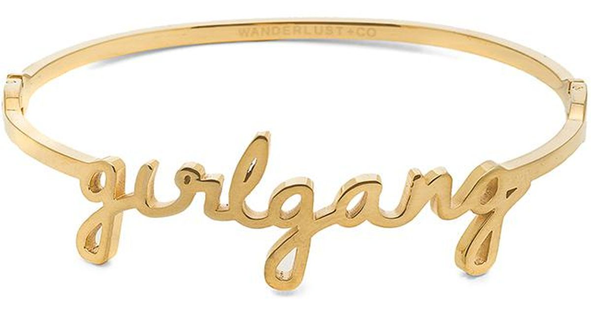 Wanderlust + Co Girl Gang Bangle in Metallic Gold MpNlyWdczb
