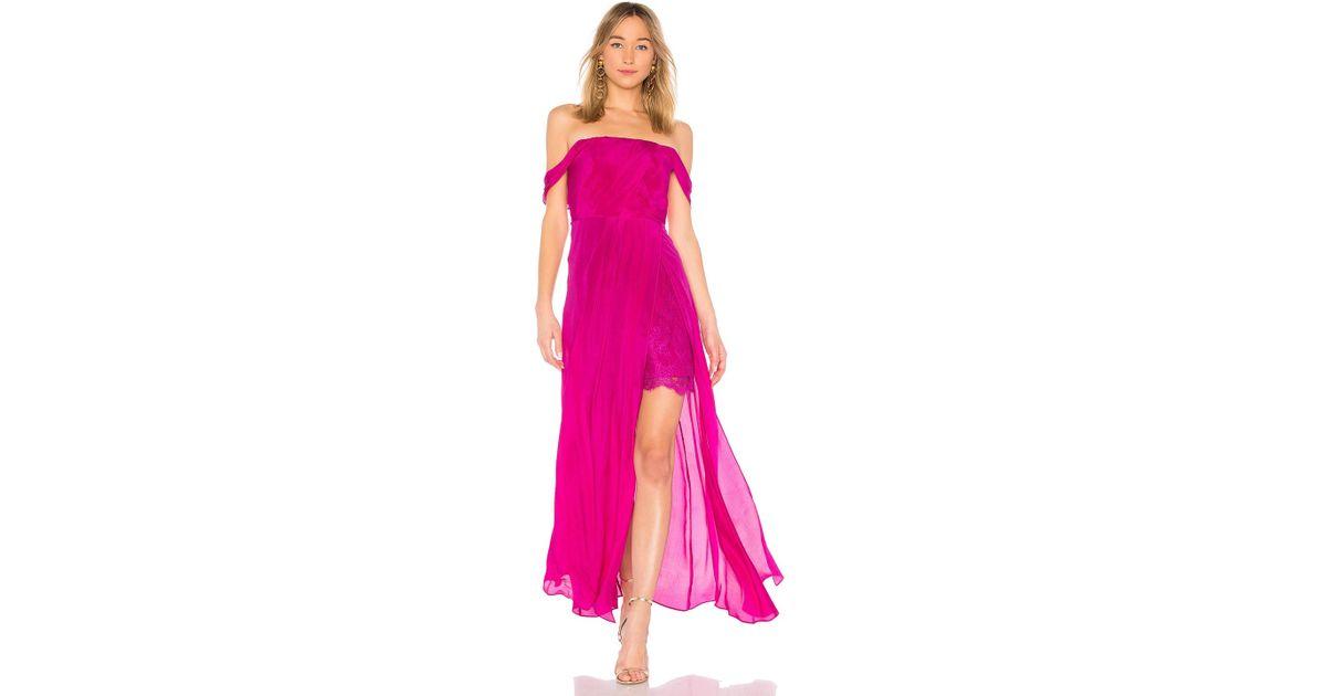 742e01a7a9b Lyst - Aijek Arabella Off The Shoulder Maxi Dress in Pink