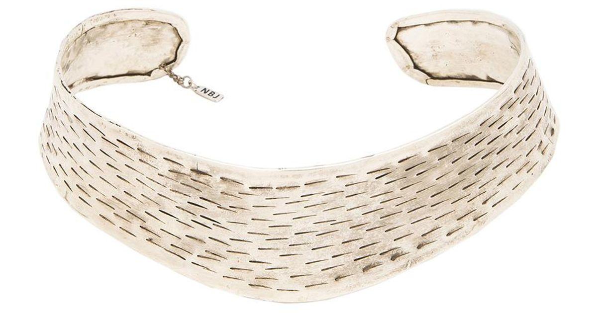 Natalie B Jewelry The Yev Collar in Metallic Silver JiEcyo0eQ
