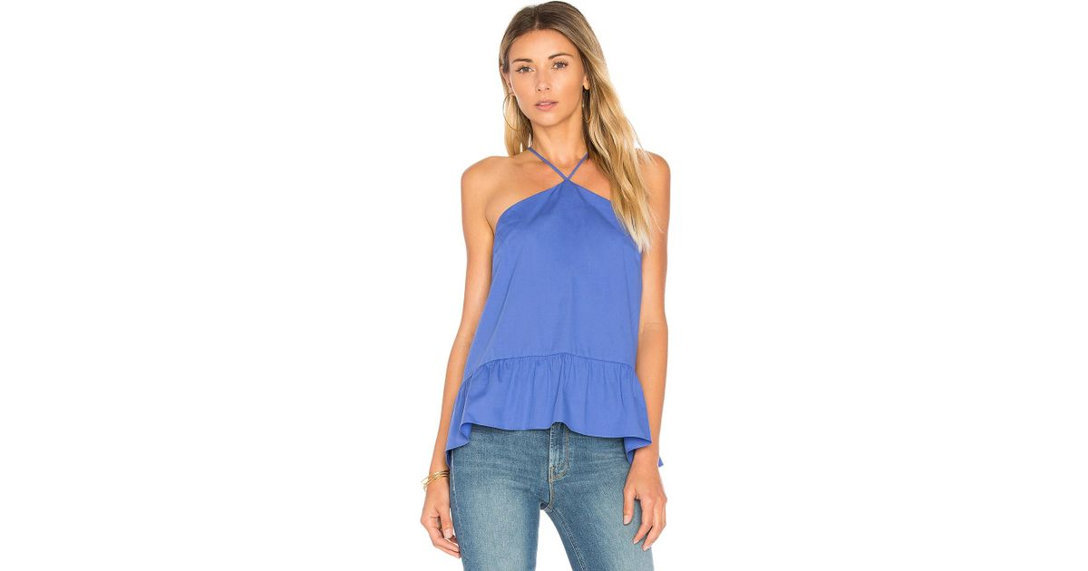 b2b2772f9a387 Lyst - Amanda Uprichard Lorelai Cami in Blue