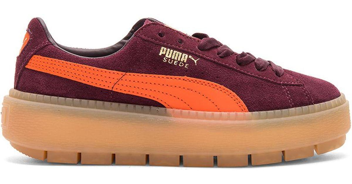 Red Sneaker Platform Trace Suede Lyst In Puma Block n4OFwnB0q