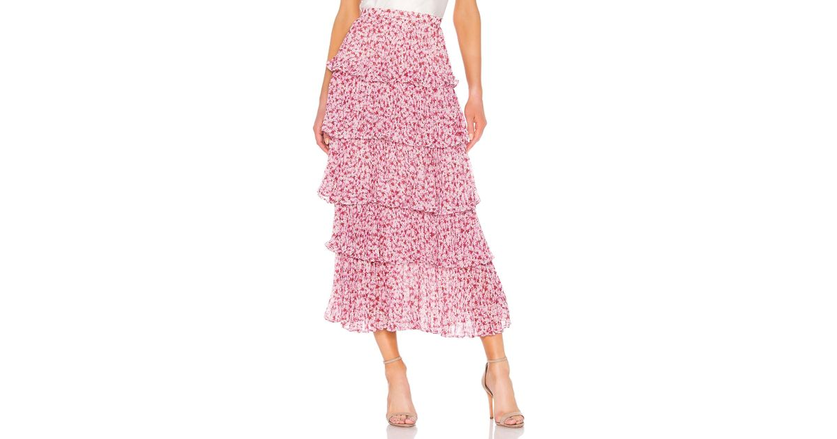 save up to 80% various design big discount AMUR Pink Paisley Floral Print Maxi Skirt