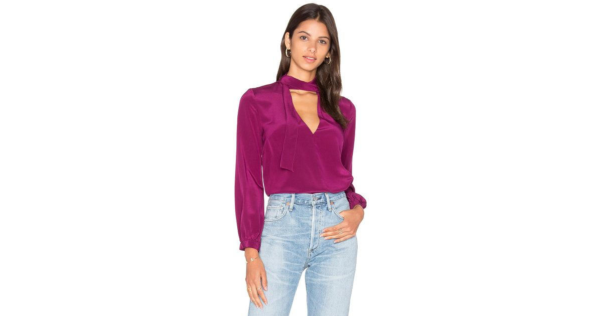 9e786f1b3a3a17 Lyst - Amanda Uprichard Francesca Tie Neck Blouse in Purple