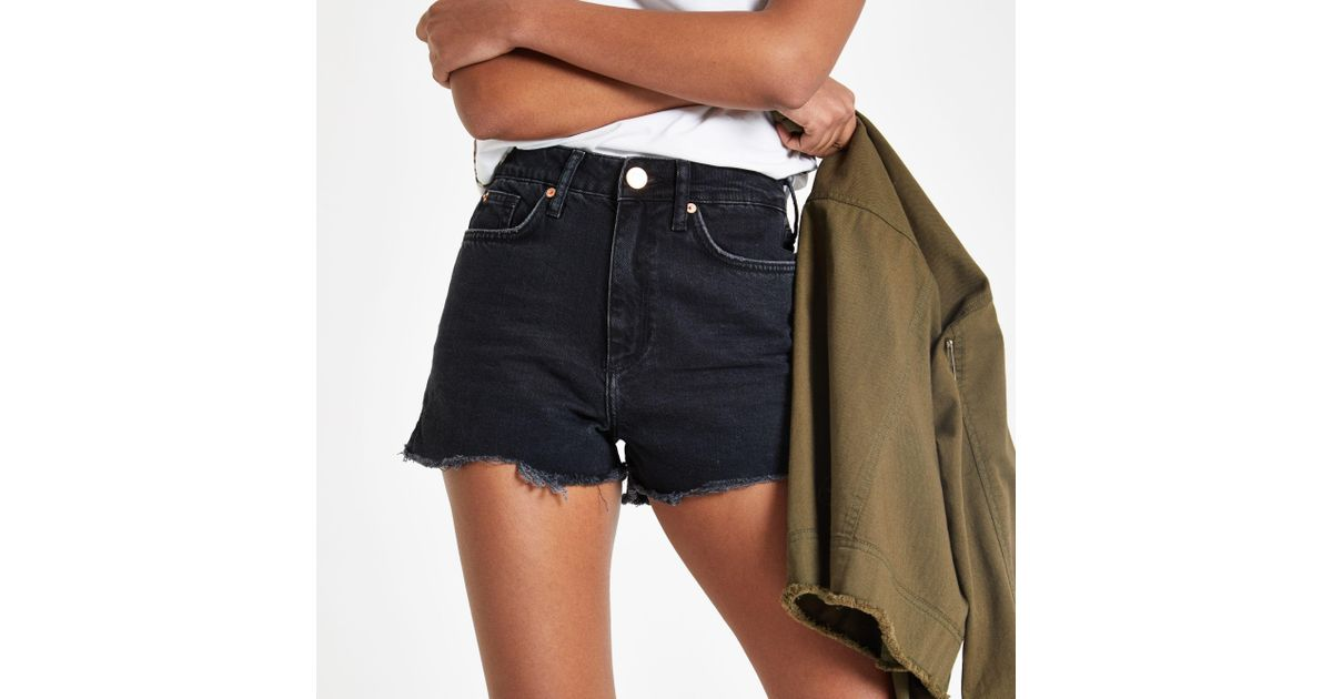 e17a7c10b18 River Island Annie Washed High Waist Denim Shorts in Black - Lyst