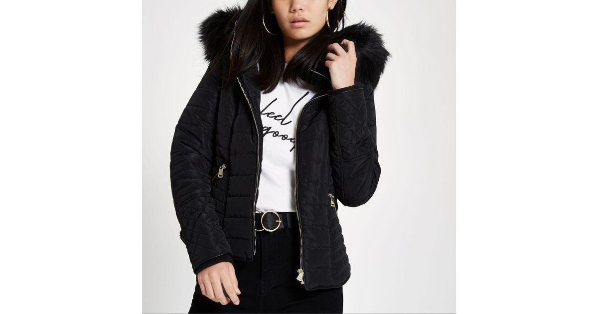 1dca0ecd5ed Lyst - River Island Black Faux Fur Hood Long Sleeve Padded Jacket in Black