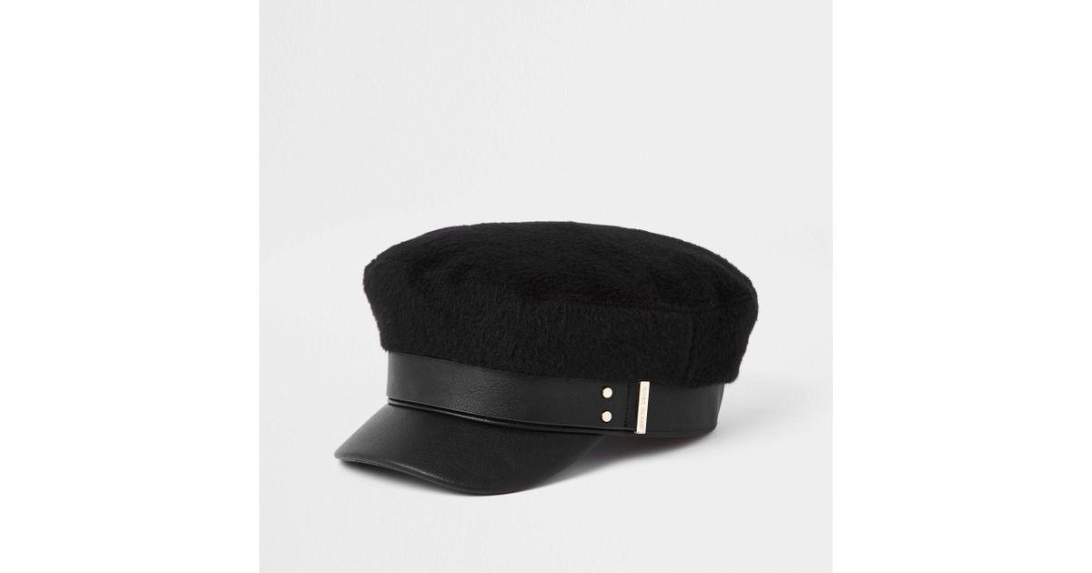 45921bd3425 Lyst - River Island Brushed Baker Boy Hat in Black