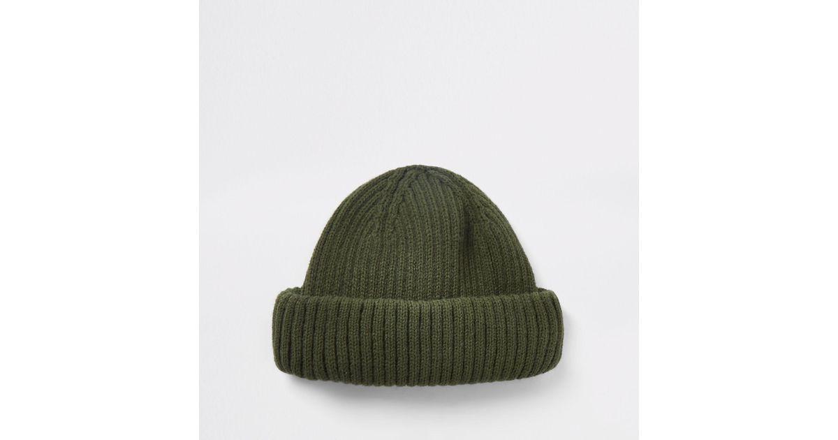 River Island Khaki Green Mini Fisherman Beanie Hat in Green for Men - Lyst cbd5c6270b98