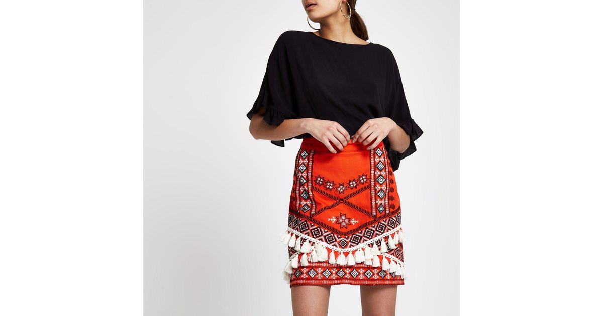 dc1f06530 River Island Tassel Embroide Mini Skirt in Red - Lyst