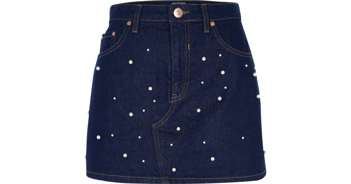 Blue Denim Faux Pearl Embellished Skirt by River Island