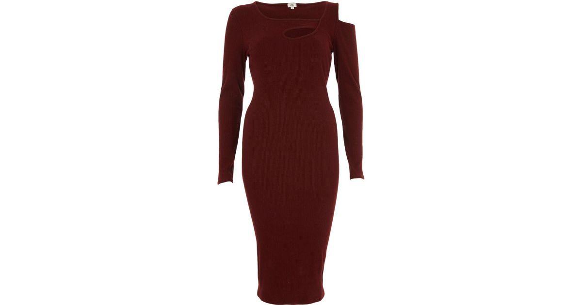 72e6000a Lyst - River Island Burgundy Rib Cut Out Asymmetric Bodycon Dress Burgundy  Rib Cut Out Asymmetric Bodycon Dress in Red