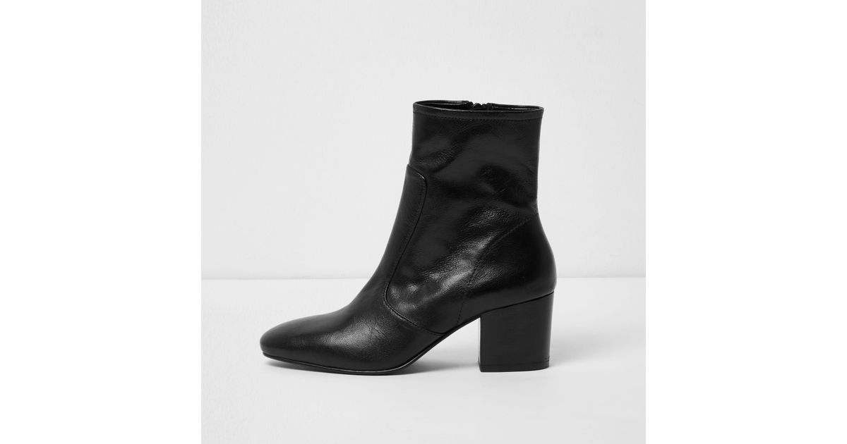 267c2d6554b8 River Island Black Leather Sock Block Heel Ankle Boots in Black - Lyst