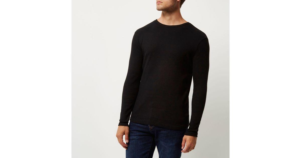 e9621b135 River Island - Black Ribbed Slim Fit Long Sleeve T-shirt for Men - Lyst