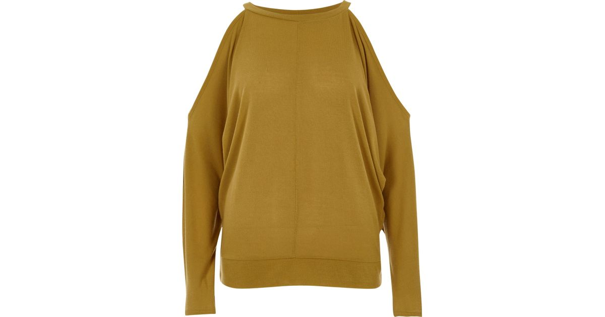 ec642aefc3456a Lyst - River Island Dark Yellow Cold Shoulder Batwing Top in Yellow