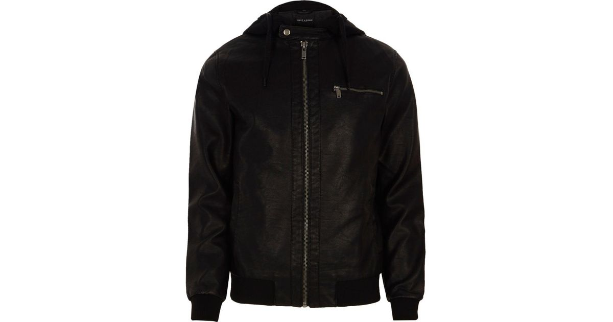 River Island Black Leather Hooded Jacket