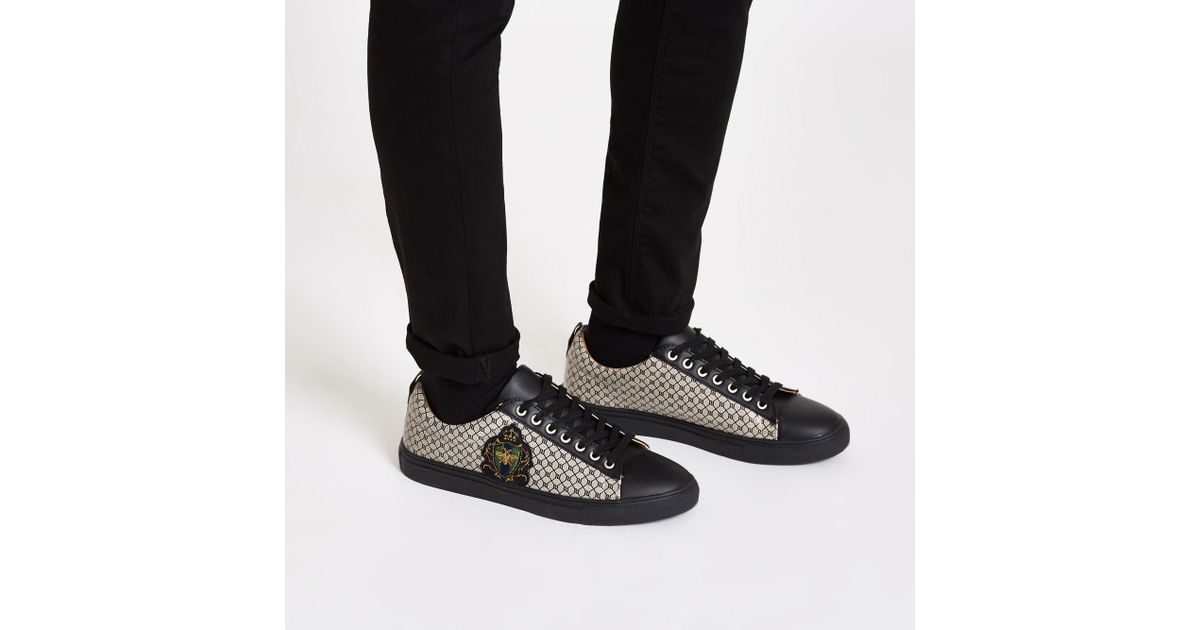 d204303a569 River Island Black Ri Monogram Low Top Cupsole Trainers in Black for Men -  Lyst