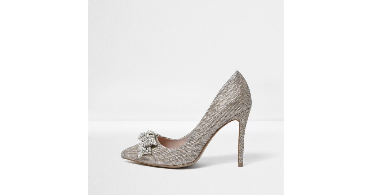 River Island Womens jewel embellished slingback pumps KihTyW