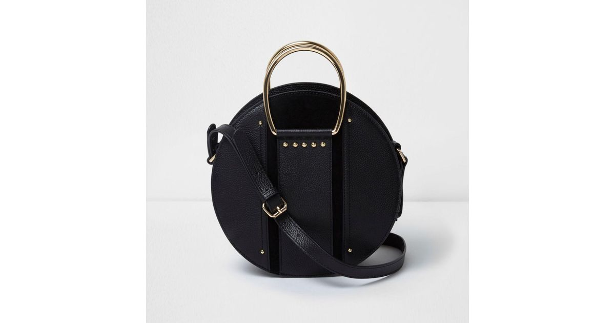 Lyst River Island Black Leather Round Handle Cross Body Bag In