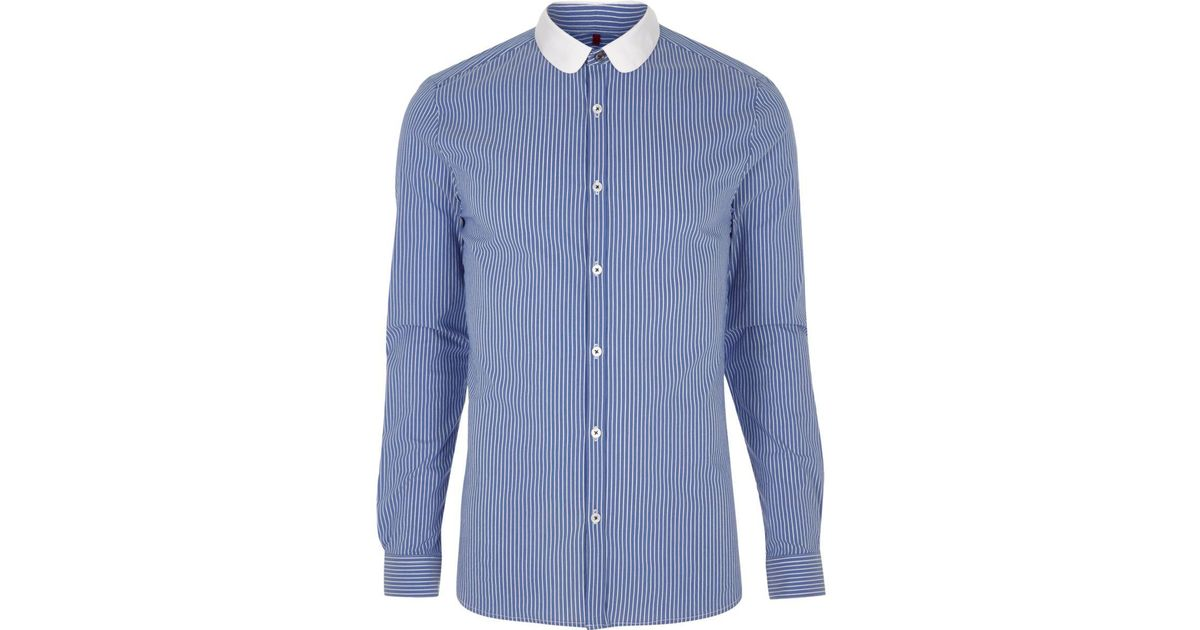 cheapest sale get online new styles River Island Blue Stripe Contrast Penny Collar Shirt for men