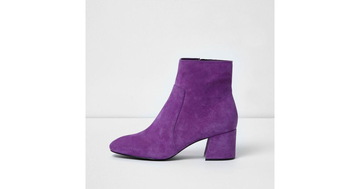 Lyst - River island Purple Block Heel Suede Ankle Boots in Purple