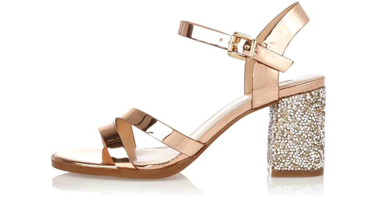 16f39481cee River Island Rose Gold Glitter Block Heel Sandals in Metallic - Lyst