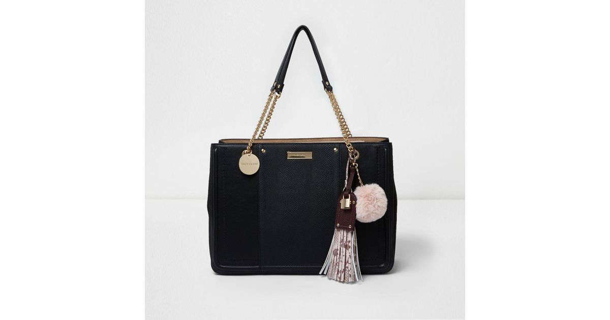 Lyst River Island Black Chain Handle Tassel Structured Tote Bag In