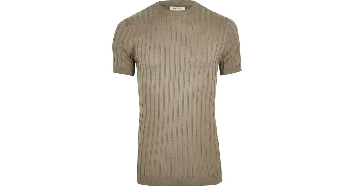 91472bc6579d7 River Island - Green Chunky Ribbed Muscle Fit T-shirt for Men - Lyst