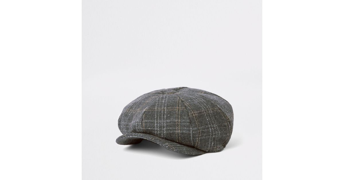 59f8dc00ec9 Lyst - River Island Grey Check Baker Boy Cap in Gray for Men