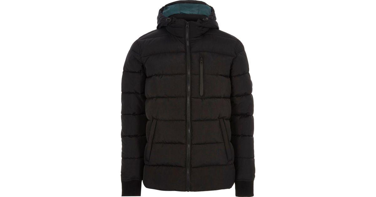 6c4cbe2ba8dd River Island Black Hooded Puffer Jacket Black Hooded Puffer Jacket in Black  for Men - Lyst