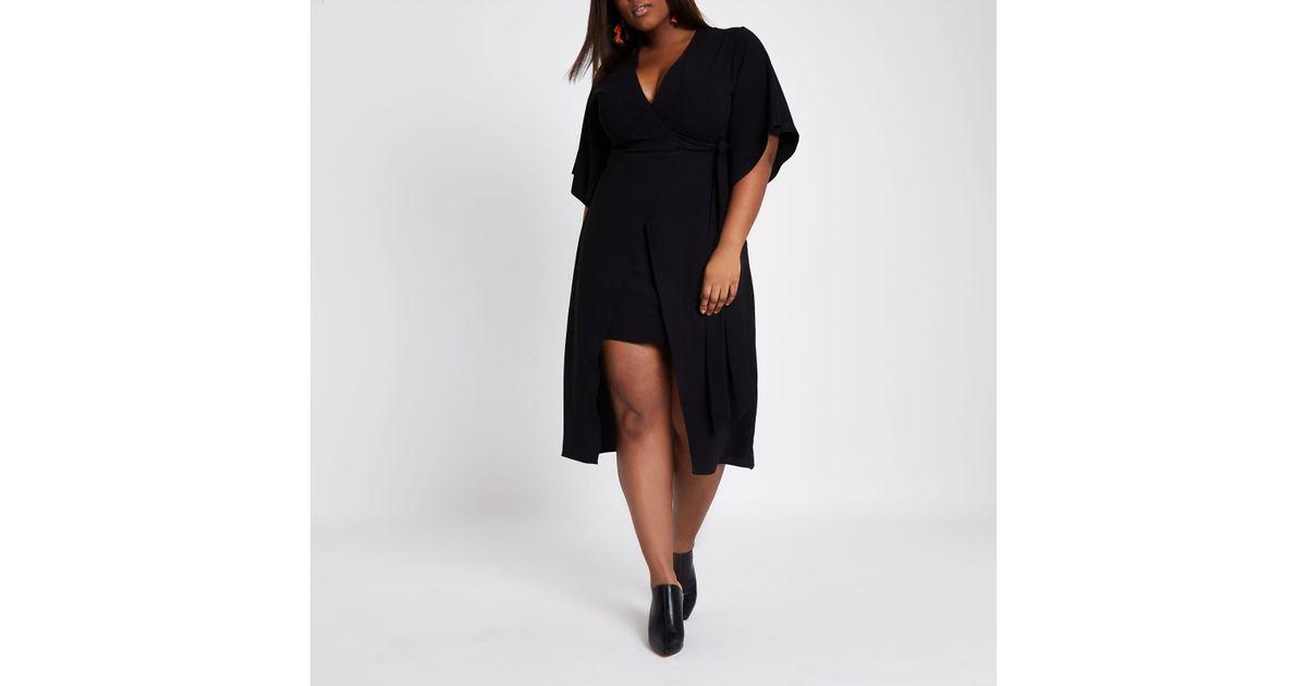 40118f98ad0 River Island Plus Black Wrap Kimono Sleeve Midi Dress in Black - Lyst